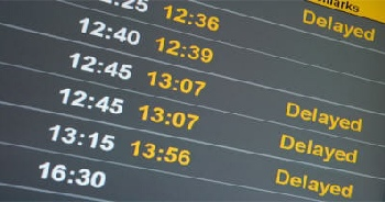 Newcastle Airport arrivals and departures board