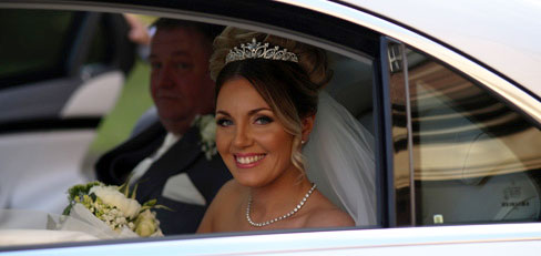 Mercedes wedding car with bride at wallsend hall